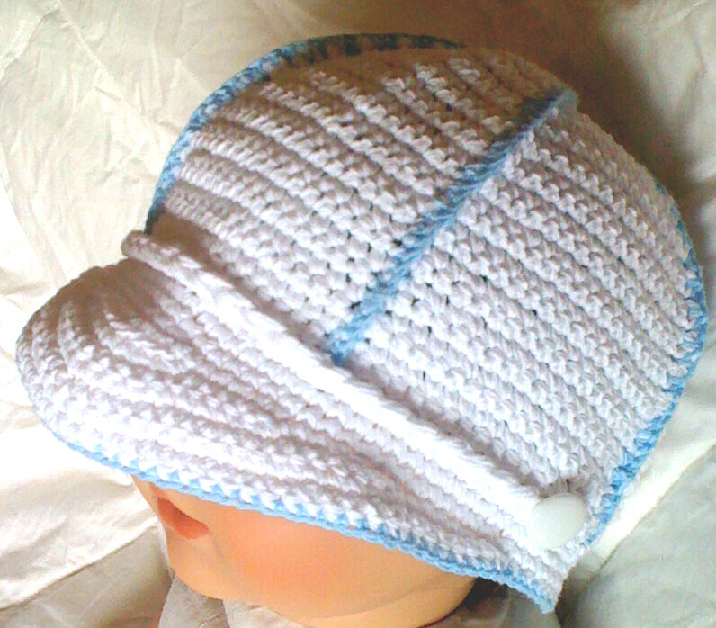 Crochet Baby Boy Visor Cap Hat Booties Reborn Doll