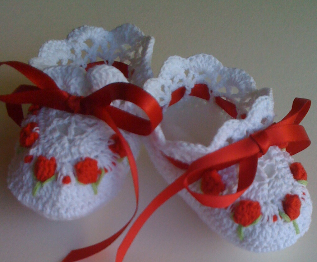 Handmade Crochet White Red Baby Booties Embroidered ...