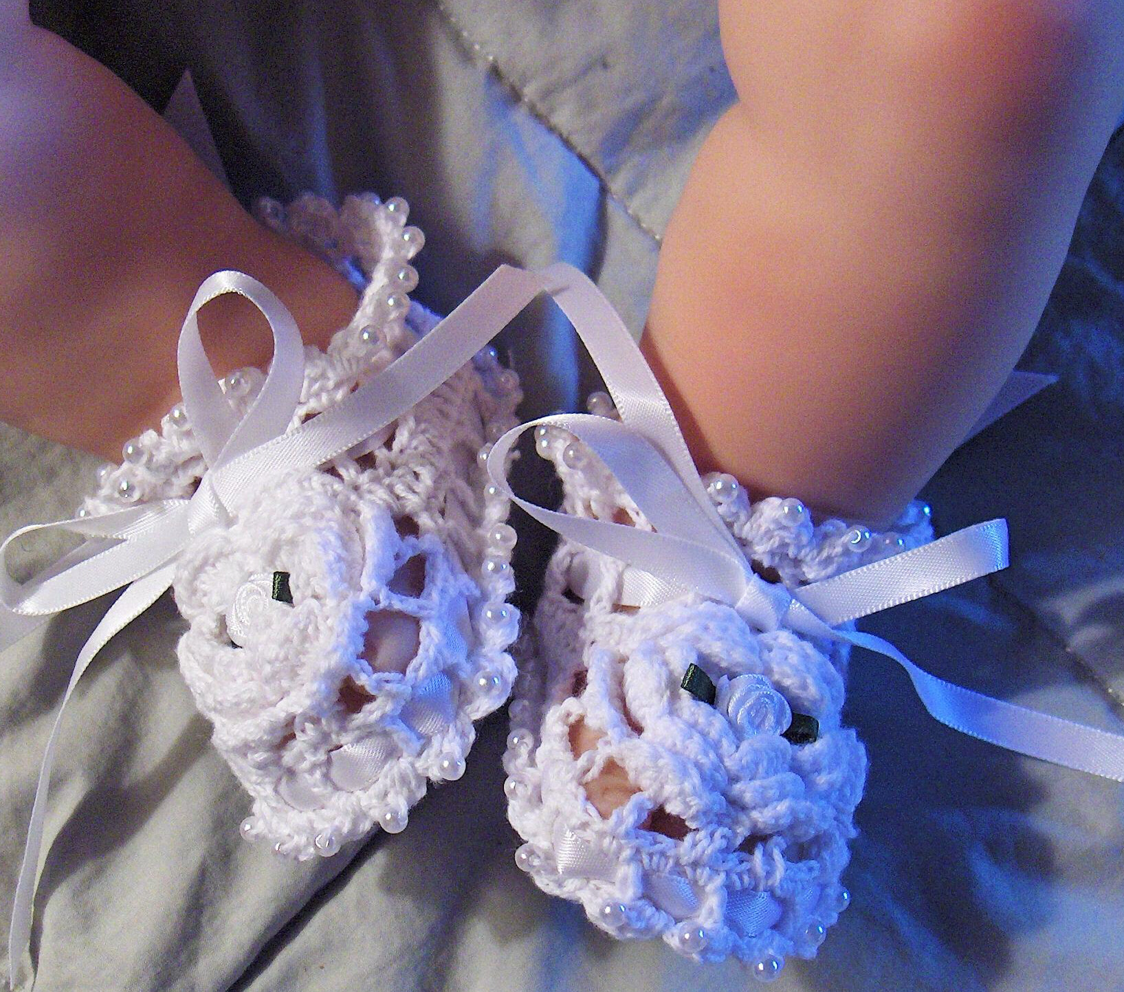 Infant Crochet Baby Booties Christening Reborn Doll