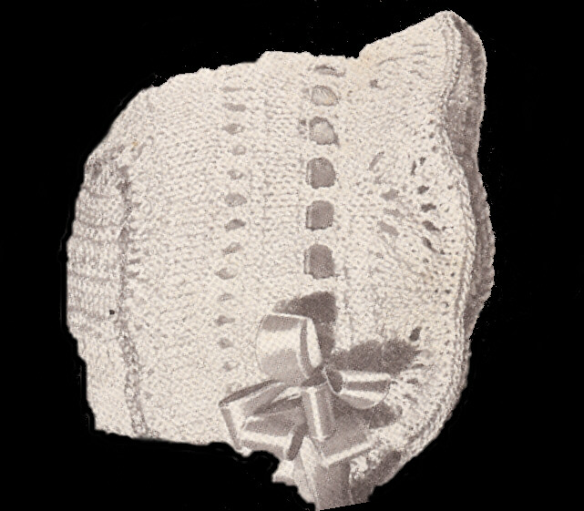 Knitting Needles Case Pattern : Vintage Knitted Baby Bonnet Cap Hat Pattern Knit Mitts