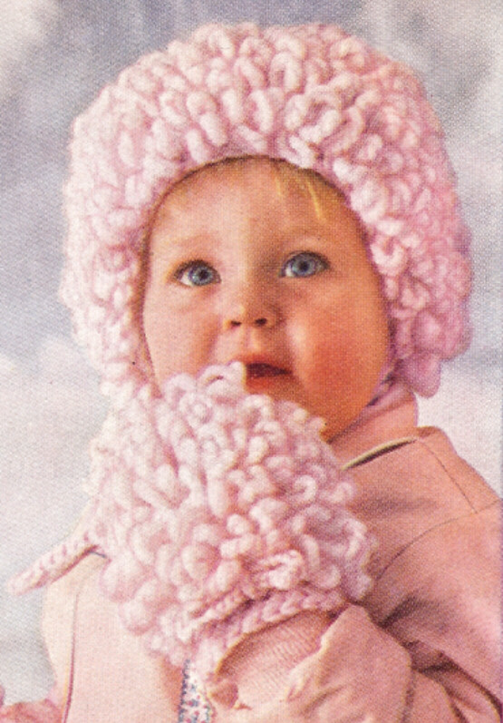 Knitting Pattern For Baby Loopy Hat : Loopy Baby Cap Hat Bonnet Mittens Crochet Pattern Vntg eBay