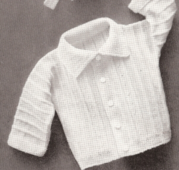 Vintage Knitting PATTERN to make Baby Boy Set Hat Sweater Booties Ribbed BoyHat