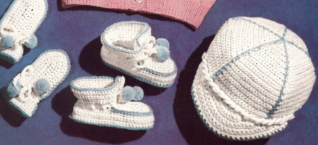 Pattern Vintage Crochet Baby Boy Visor Cap Hat Booties Baby Boys