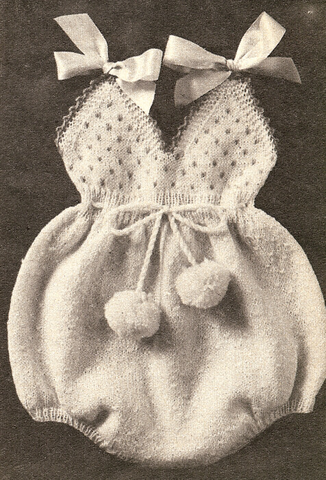Knitting Pattern For Vintage Baby Bonnet : Vintage Knitting Pattern Baby Infant Coat Romper Bonnet