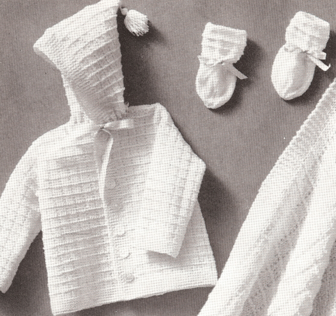 Knitting Pattern Baby Hooded Blanket : Vintage Knitting PATTERN to make Baby Hooded Sweater Blanket Booties InfantKn...
