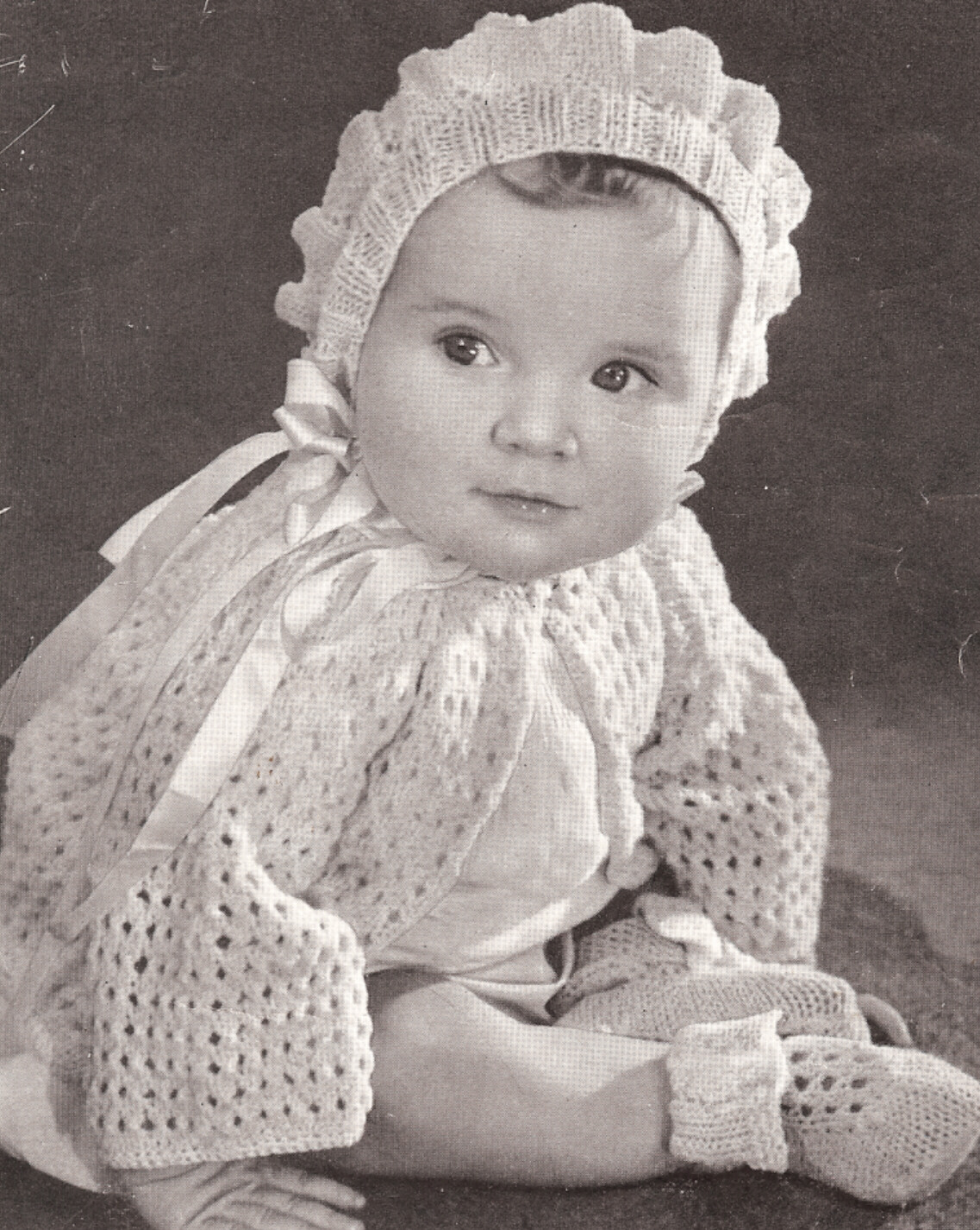 Vintage Knitting Pattern To Make Baby Bonnet Sweater
