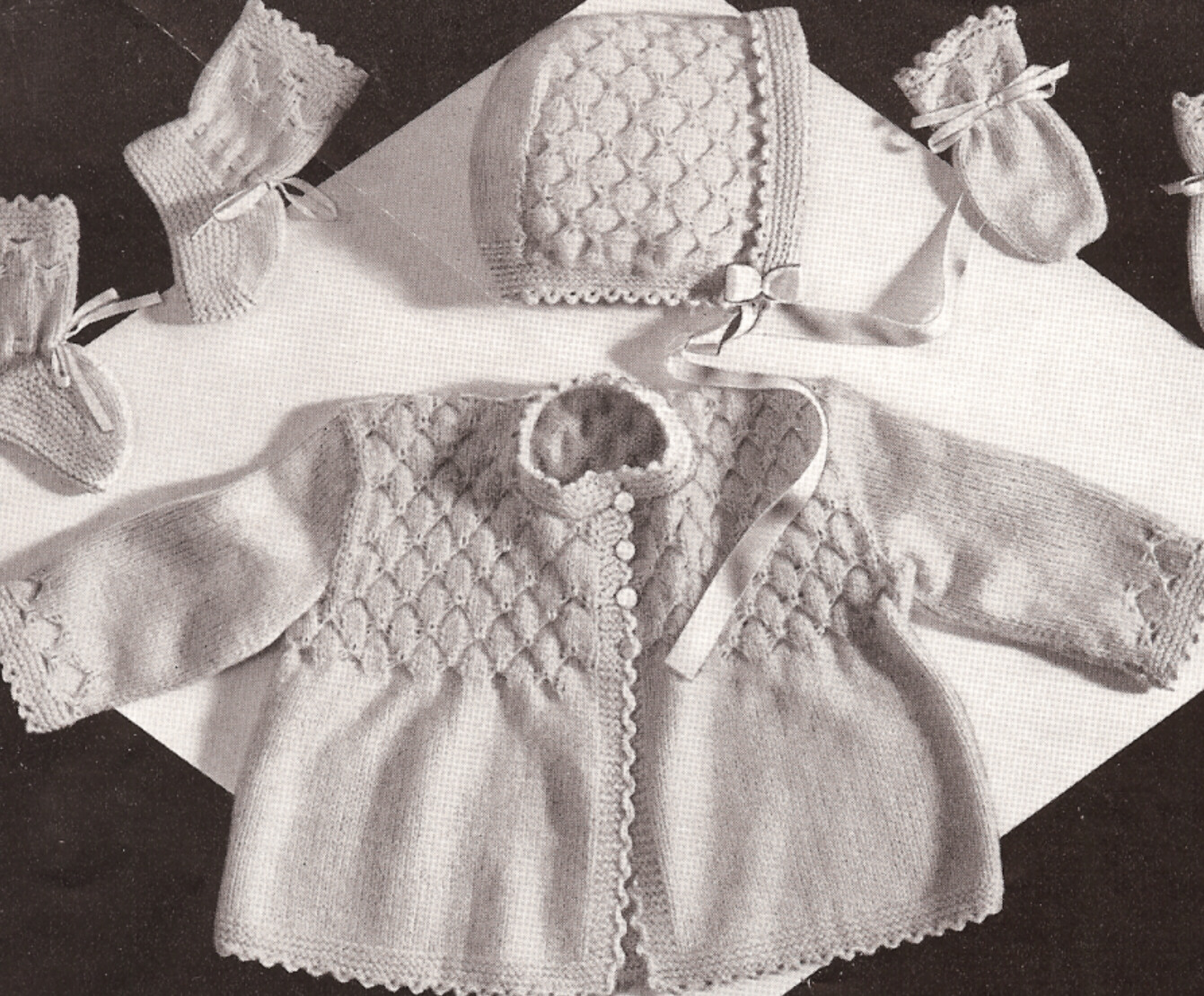 Vintage Knitting Baby Patterns : Vintage Knitting Pattern Baby Smocking Set Sweater Hat