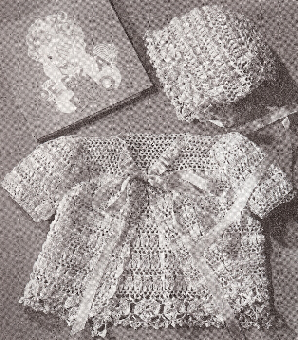 Crochet Stitches Vintage : Details about Vintage Thread Crochet PATTERN Baby Set Bonnet Sacque