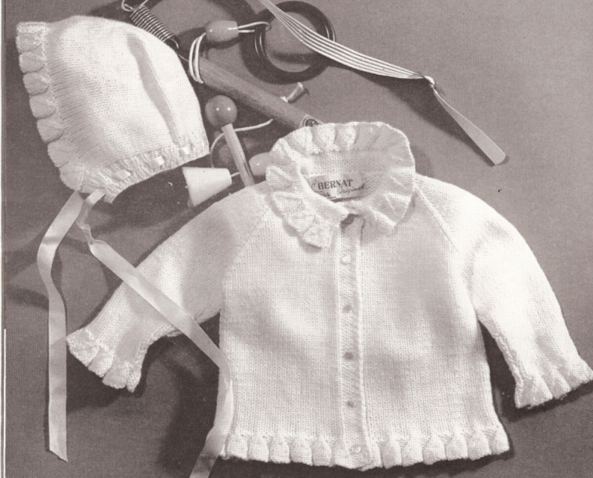 Knitting Pattern For Ruffle Baby Vest : Vintage Baby Knit Ruffle Sweater Hat Pattern Sz 1 2 3 eBay