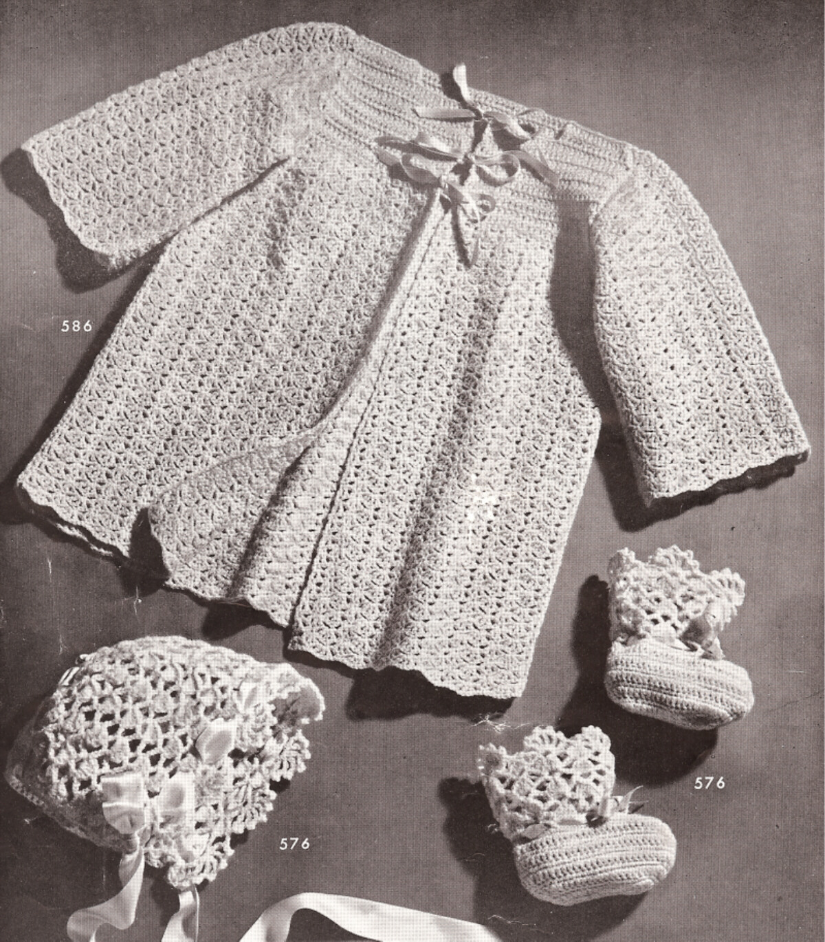 Crochet Baby Bonnet And Booties Pattern : Vintage Baby Sacque Bonnet Booties Crochet Pattern Set