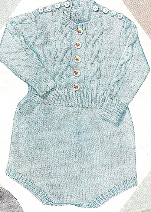 Knitting PATTERN Cable Knitted Baby Romper Creepers ...