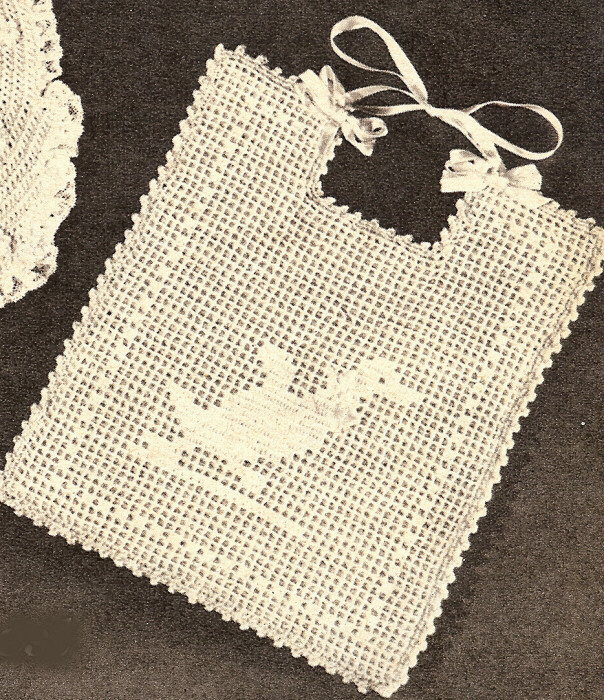 Vintage Filet CROCHET BABY BIB PATTERN Ducky Duck Chart eBay