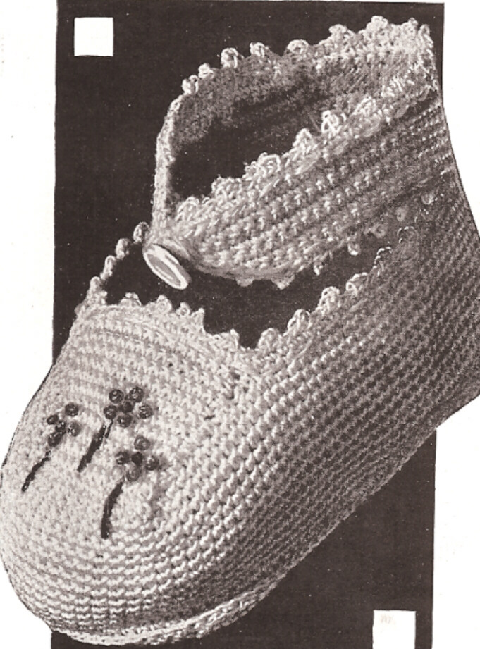 Cotton Crochet Baby Shoes Pattern : Vintage Crochet PATTERN to make Thread Baby Booties Soft ...