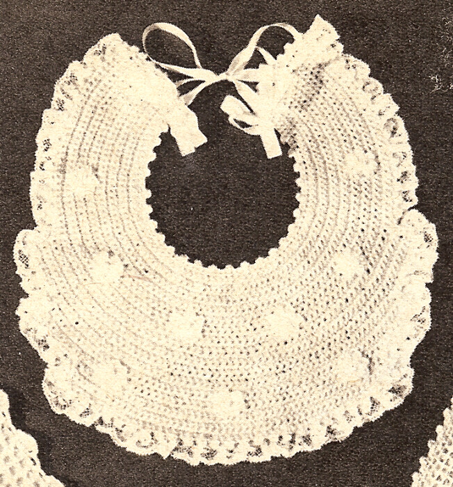 Crochet Baby Bib Patterns : Vintage Crochet PATTERN Baby Bib Fancy Christening