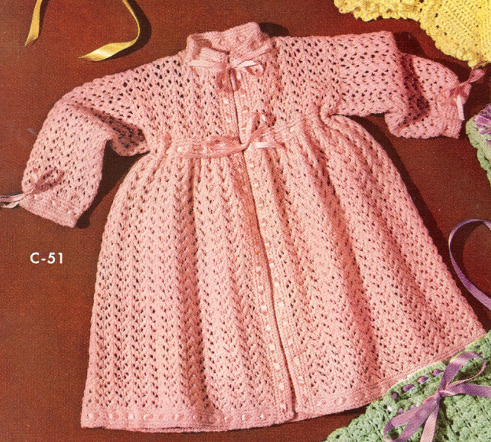 Vintage Knitting Patterns For Babies : Vintage Baby Dress Kimono Robe Knitting Pattern Sz. 2/3 eBay