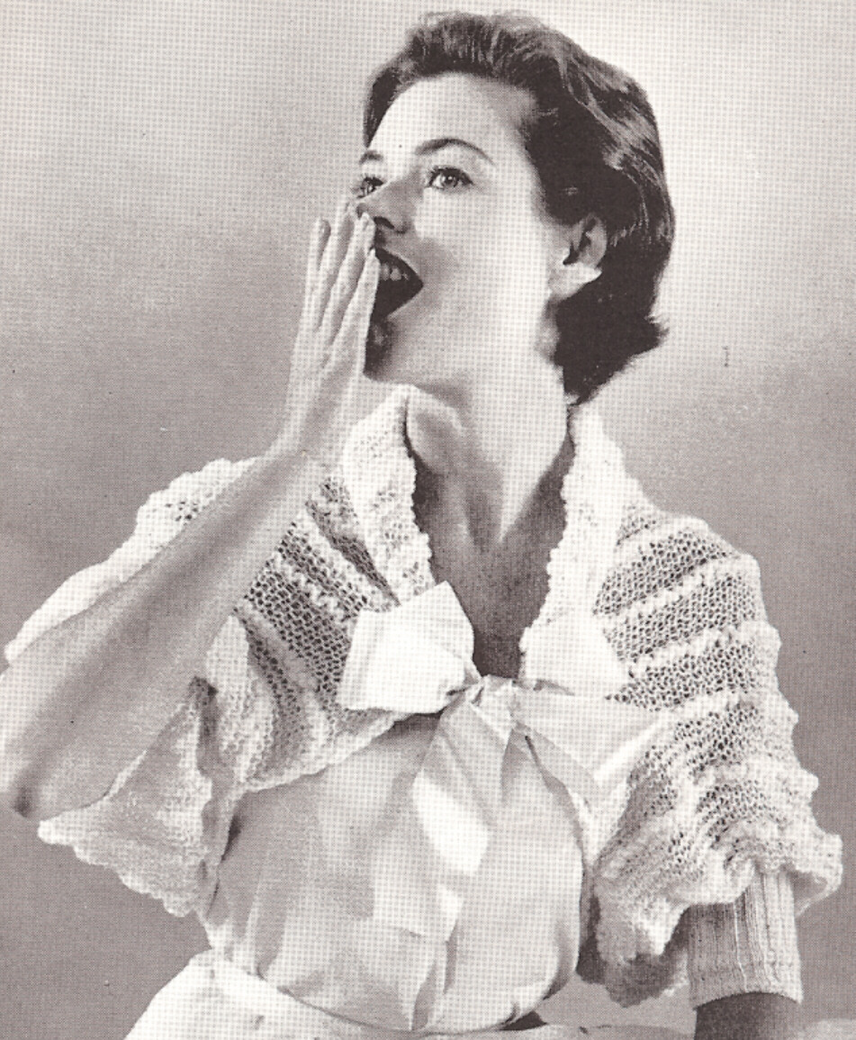 Vintage Bed Jacket Sweater Shrug Wrap Knitting PATTERN