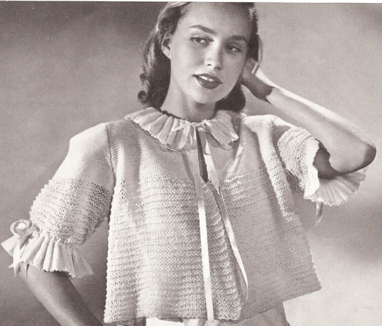 Knitting Pattern For Shawl Bed Jacket : 20 Vintage Bed Jacket Sweater Shrug Knitting PATTERN s