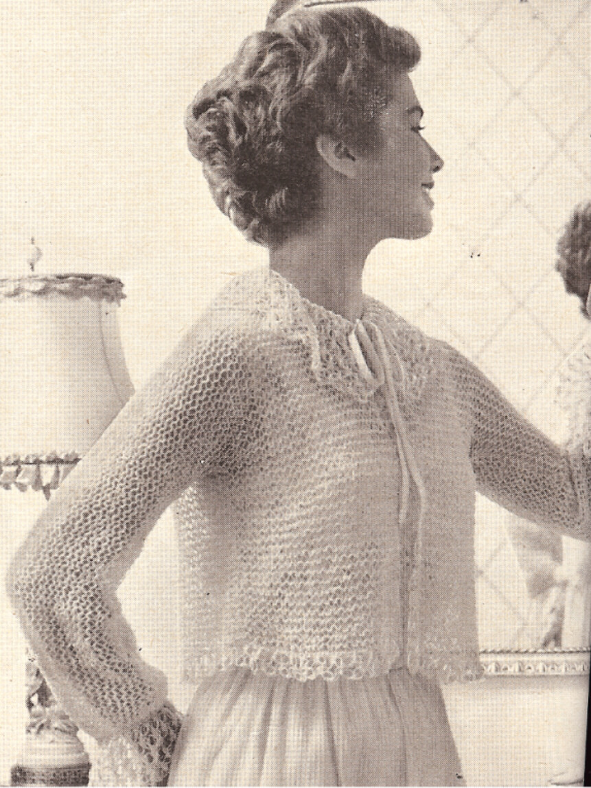 Knitting Pattern For Shawl Bed Jacket : Vintage Knitting PATTERN to make Lacy Shortie Bed Jacket Boxy Sweater FrothyK...