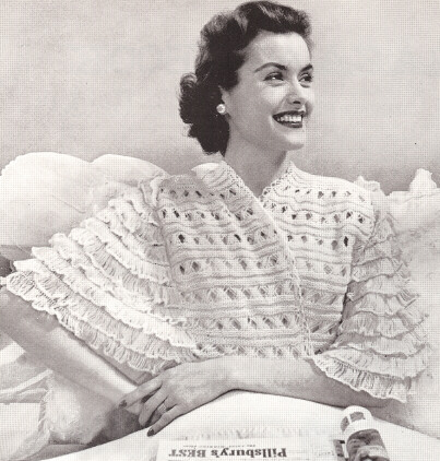 Vintage Knitting PATTERN to make Bed Jacket Sweater Top Knitted Lace eBay