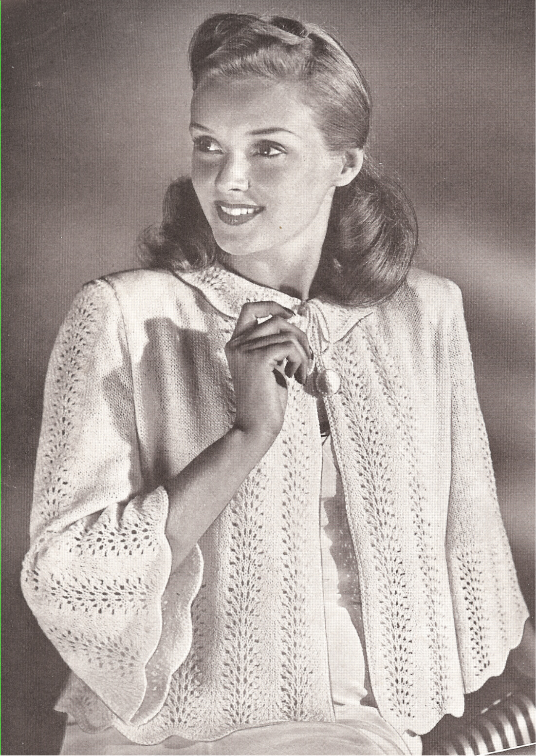 Free Knitting Glove Patterns : Vintage Knitting PATTERN to make Bed Jacket Sweater Knit Top Morning Glory ...