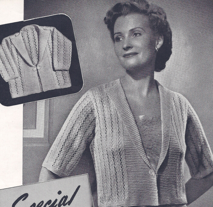 Vintage Knitting PATTERN Bed Jacket Sweater Baby Sacque