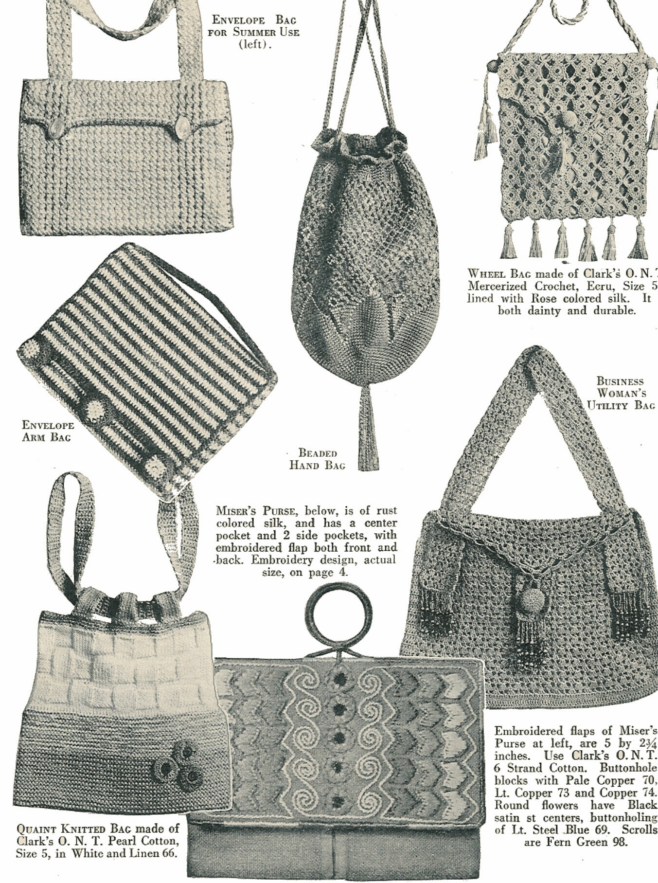 30 pages. 100 bags of all kinds, at least one beaded. Patterns for all