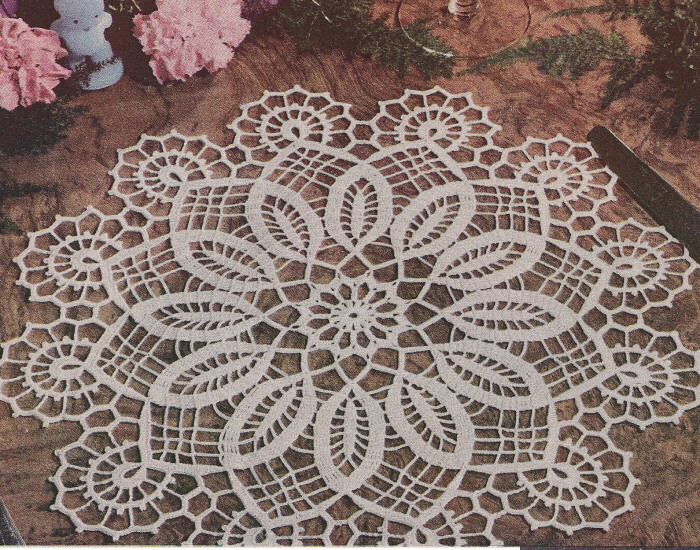 Crochet Patterns Vintage Doilies : Vintage Crochet Pattern Easter Doily Centerpiece Mat eBay