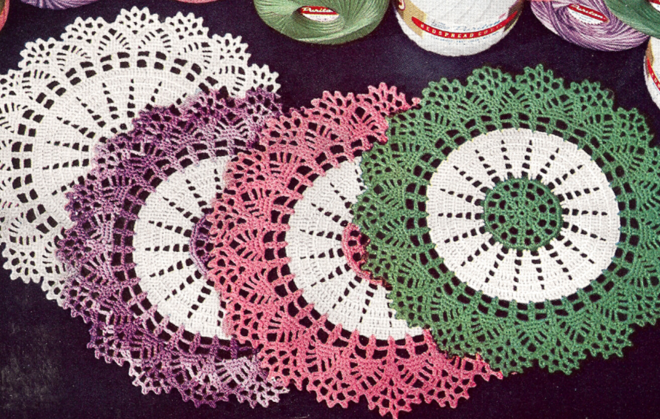 Thread Crochet Patterns : Vintage Crochet Pattern to Make Thread Doily Mat Centerpiece Motif