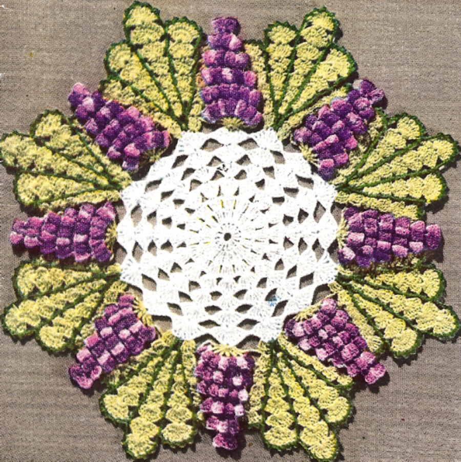 Vintage Crochet Grape Popcorn Quick Doily Motif Pattern