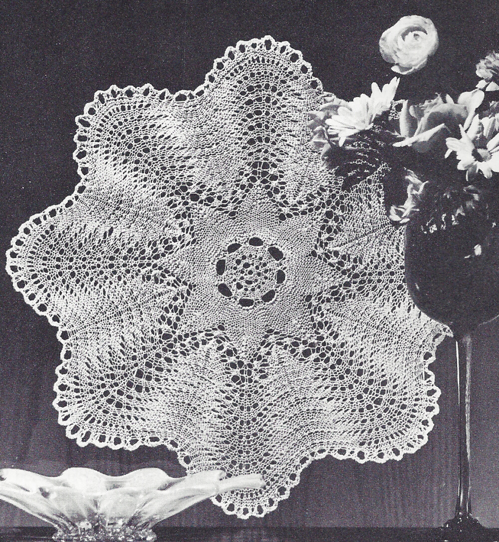 Pattern to Make Vintage Knitted Lace Doily Centerpiece Mat Feather Fan Design...