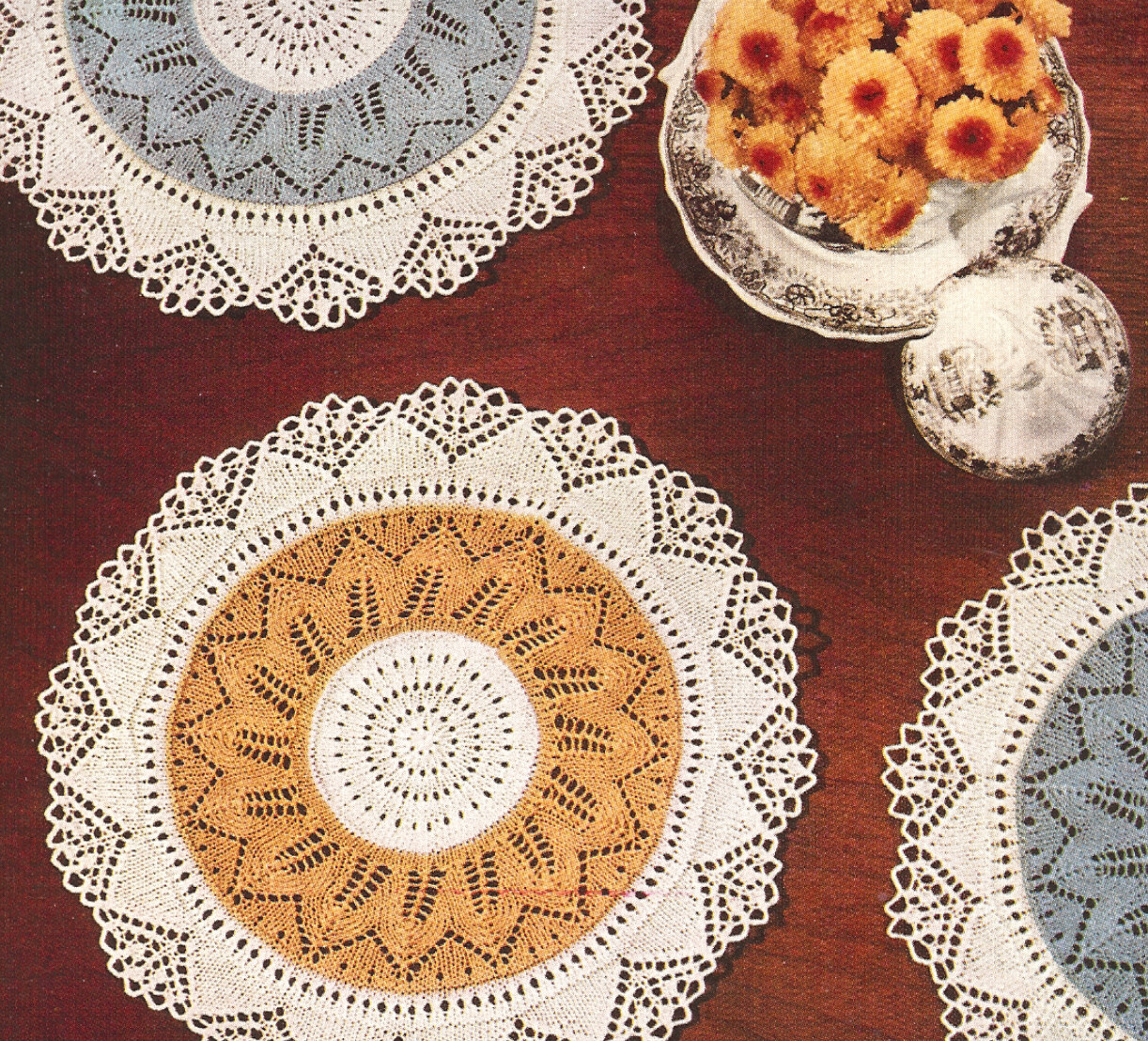 Vintage Knitting PATTERN to make Lace Doily Mat ...