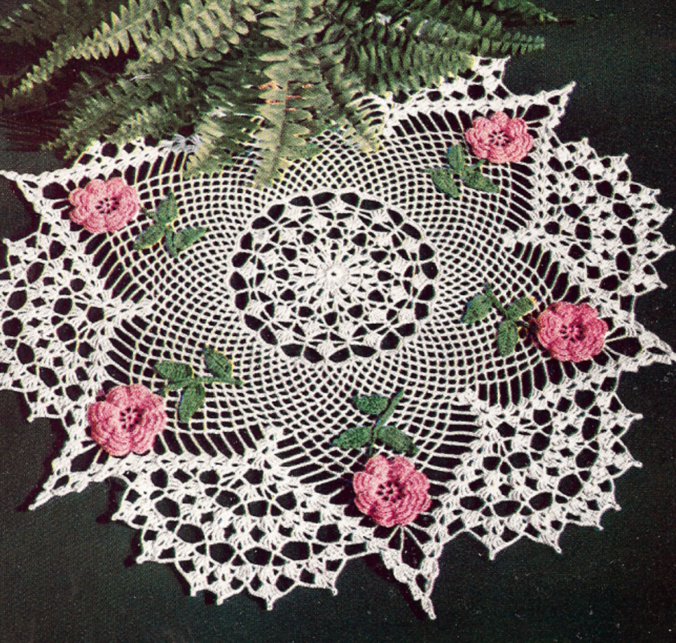 free crochet patterns for beginners doilies RosePointsDoilyPromo1