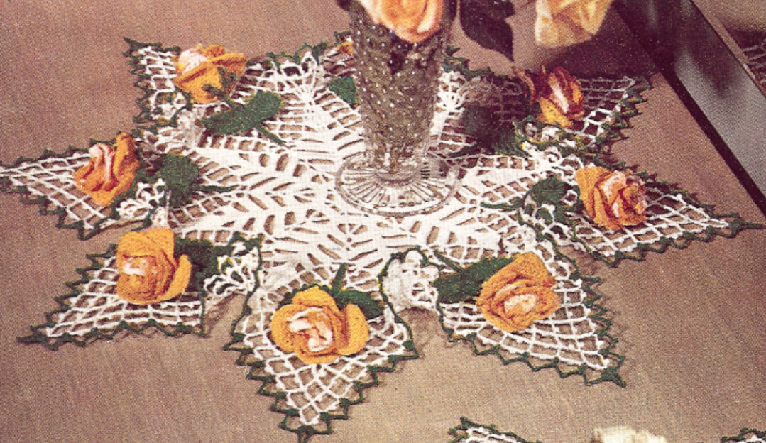 Vintage Crochet PATTERN to make Rosebud Roses Leaves Doily Centerpiece ...
