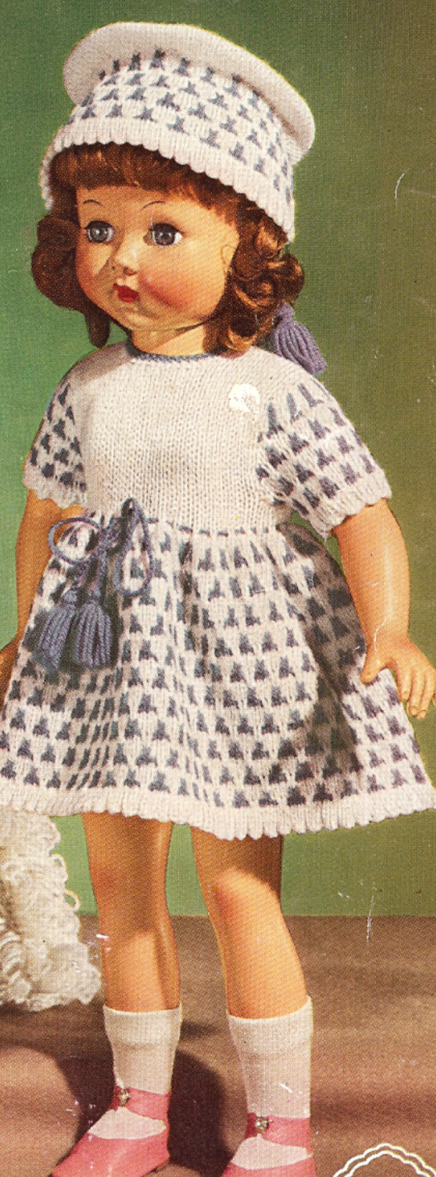 Vintage Knitting PATTERN to make 18-inch Doll Dress Hat ...