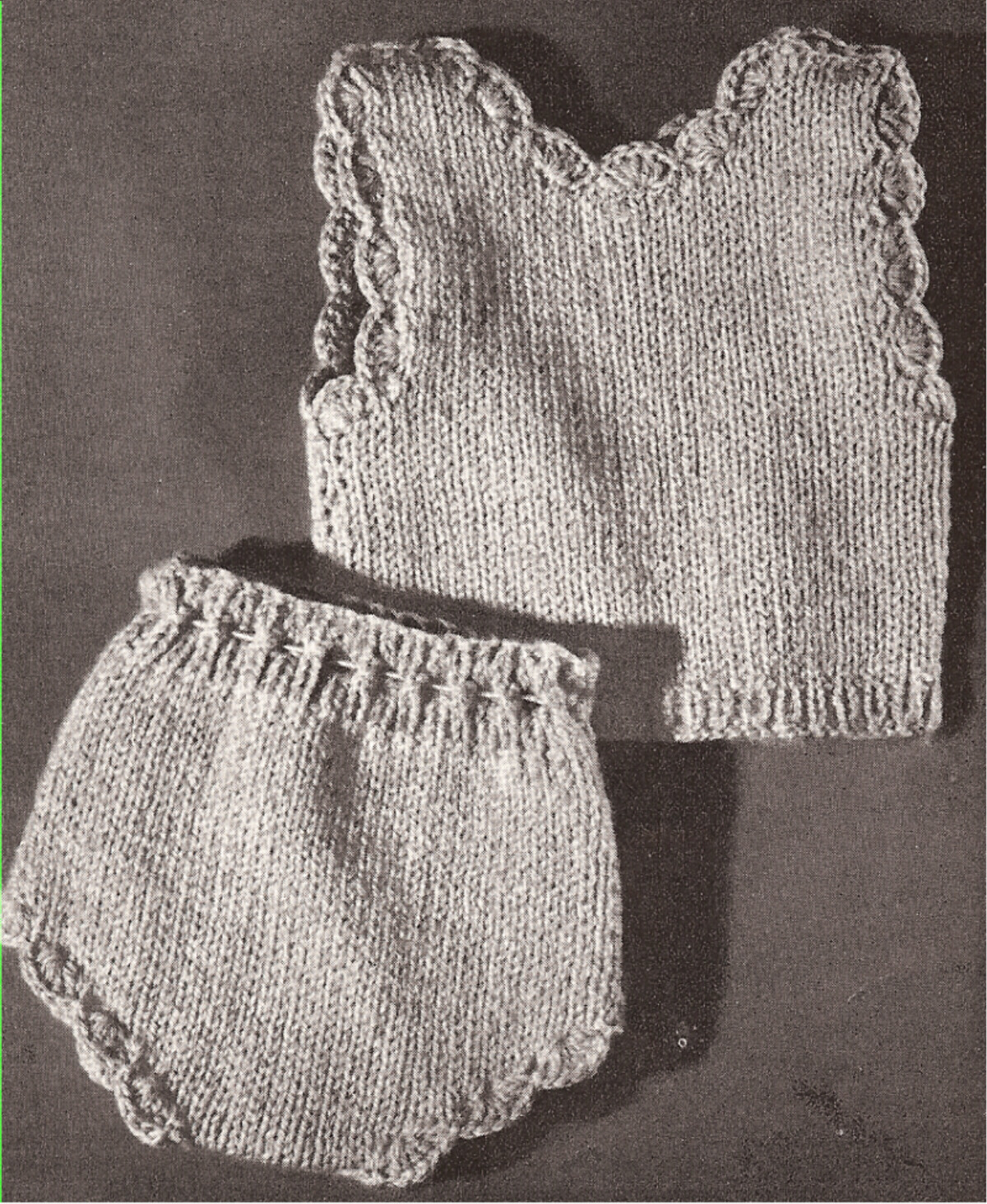 18-in Vintage Knitted Doll Vest Panties Clothes Pattern