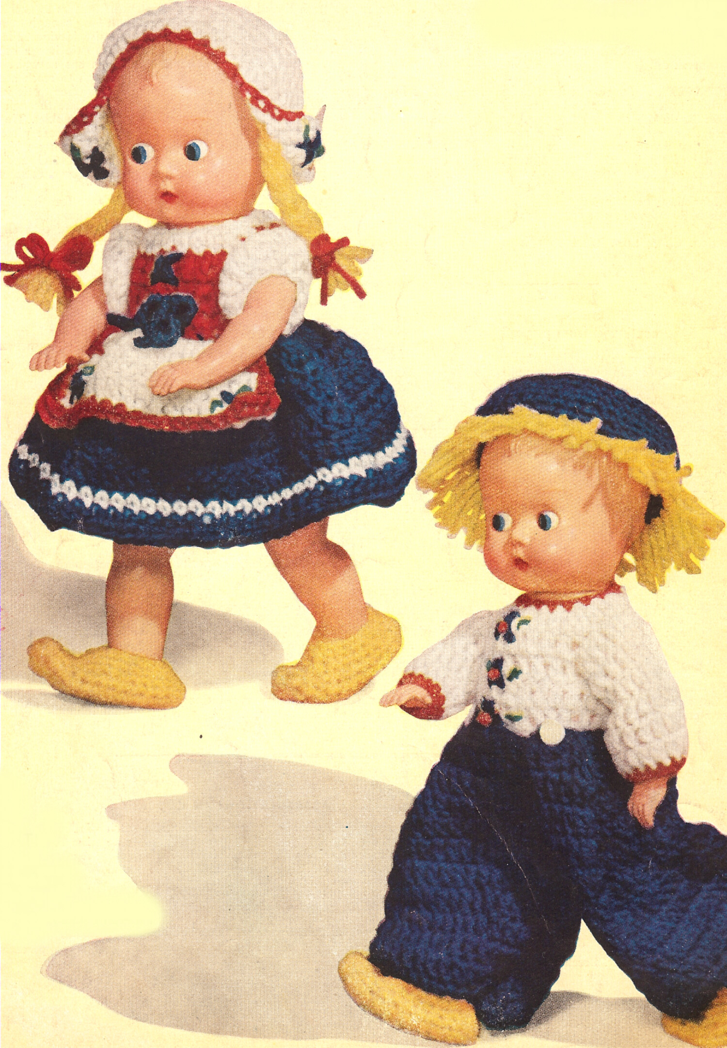Crocheting Doll Clothes : Vintage Crochet Dutch Doll Clothes Hat Boy Girl Pattern