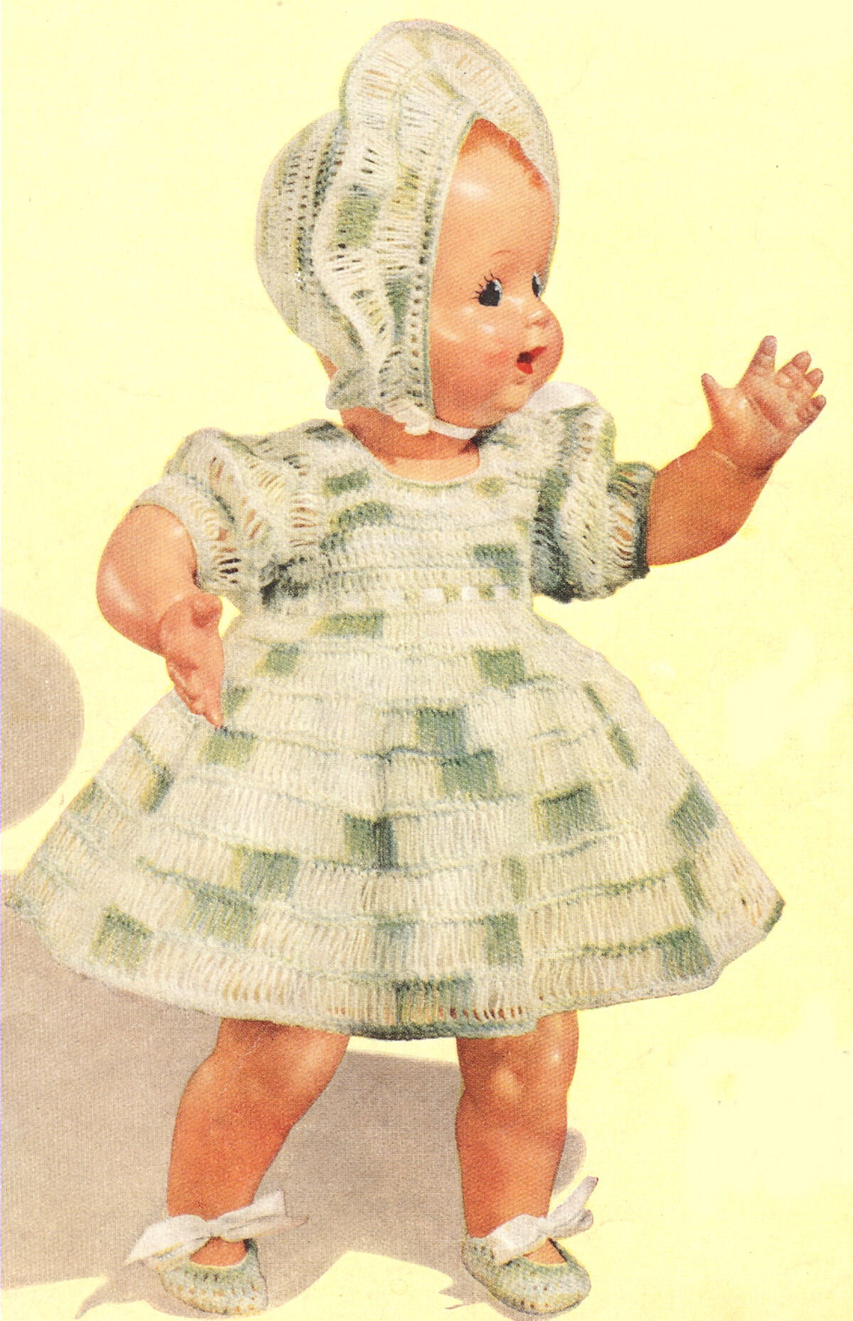 Vintage Crochet Pattern To Make Baby Doll Dress Set Hat