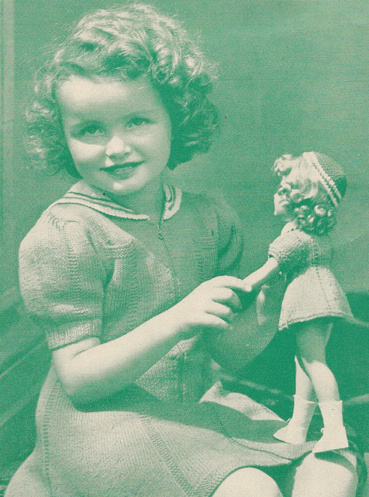 Vintage Knitting PATTERN to make Doll Clothes Dress Hat Mary Hoyer Princess 1...