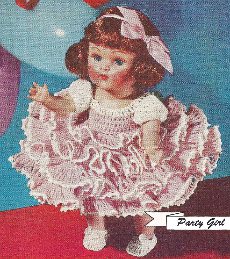 Crochet Patterns Ebay : Vintage Crochet PATTERN 8 Doll Clothes Ruffled Party Dress Slippers ...