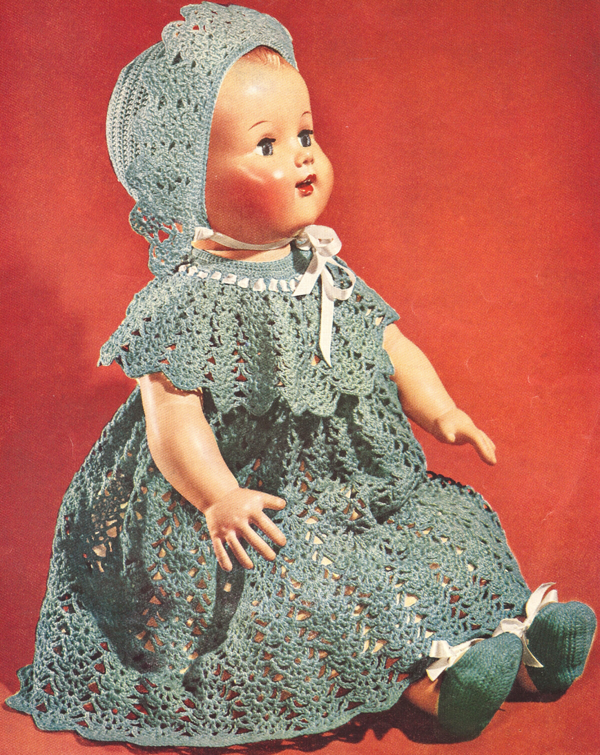 Vintage Crochet PATTERN to make Baby Doll Dress Hat Shoes 22&16-inch ...