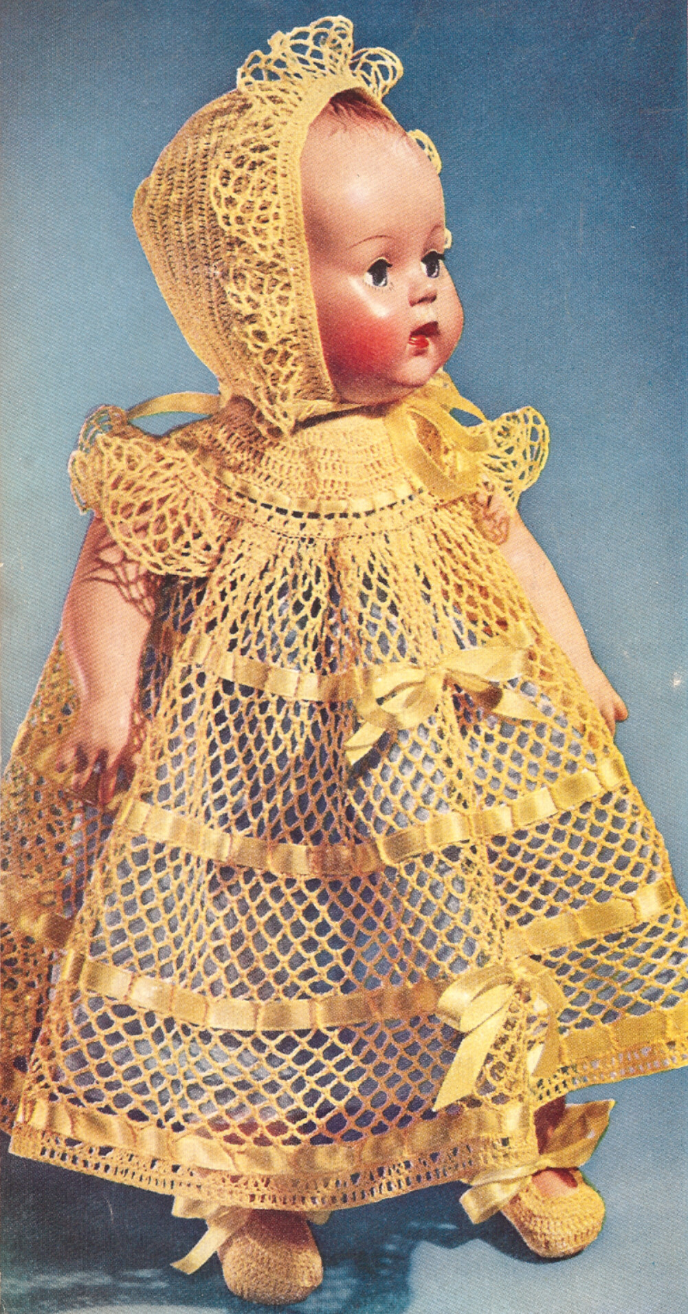 Crochet Baby Dress And Bonnet Pattern : Vintage Crochet Baby Doll Dress Hat Shoes 15in Pattern