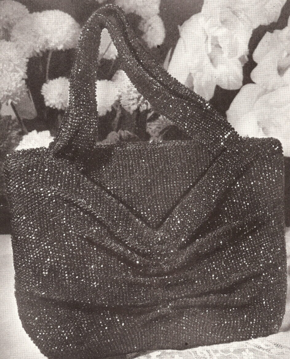Crochet Beaded Bag Pattern : Vintage Crochet Beaded Bag Purse Handbag pattern Retro eBay