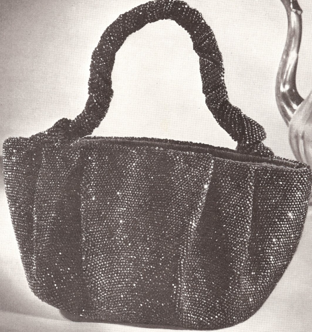 Details about Vintage 1940s Crochet Beaded Bag Purse Handbag PATTERN