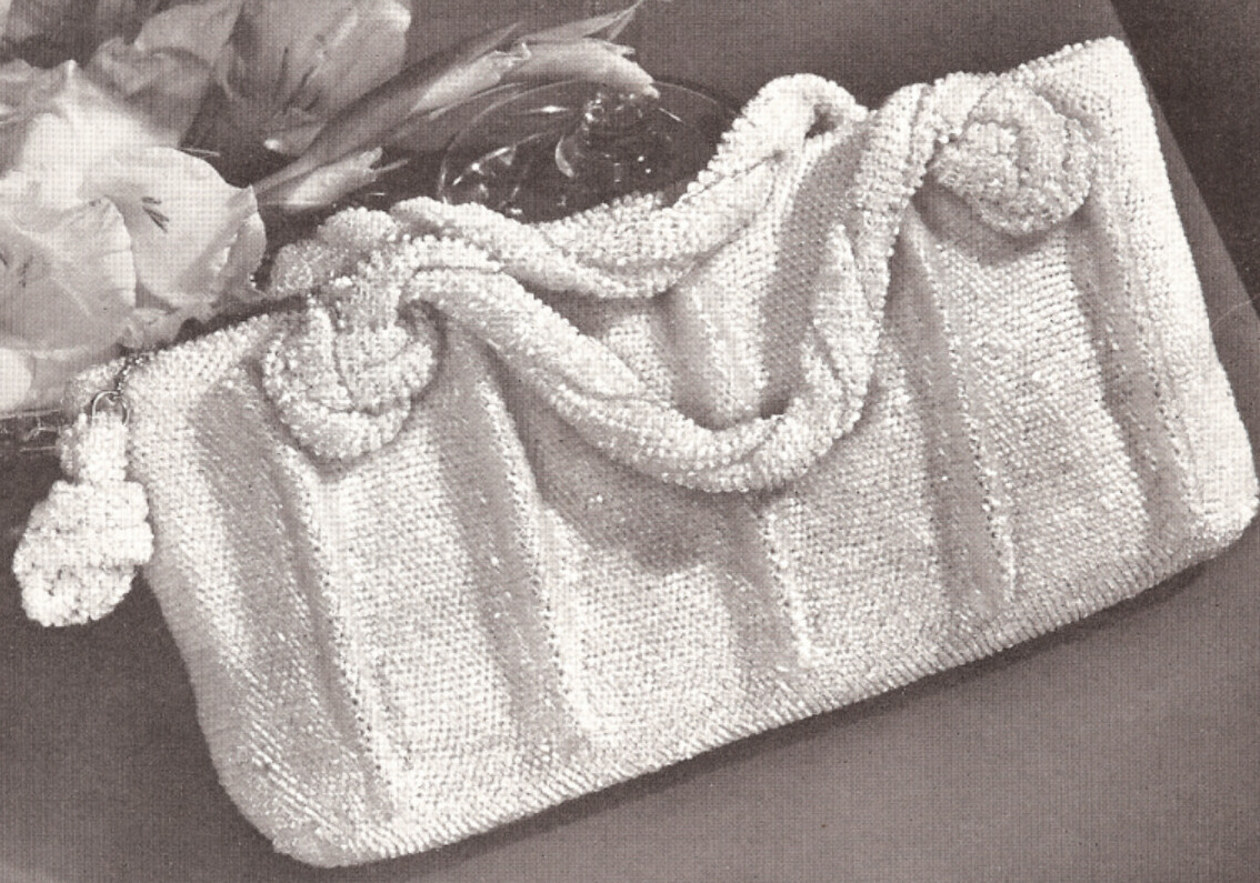 Vintage Crochet Bead Evening Bag Purse Handbag PATTERN