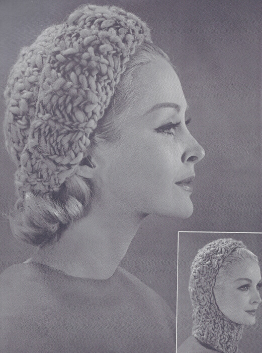 Vintage Knitting PATTERN to make Bulky Knit Hat Ski Hood ...