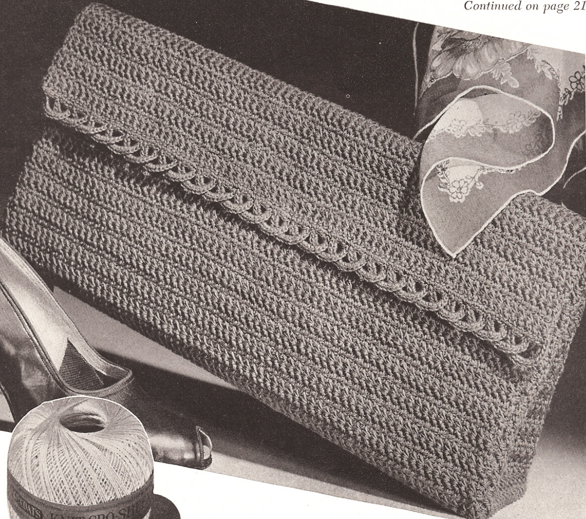 Crochet Patterns For Purses And Bags : Details about Vintage Crochet Envelope Clutch Bag Purse evening ptrn