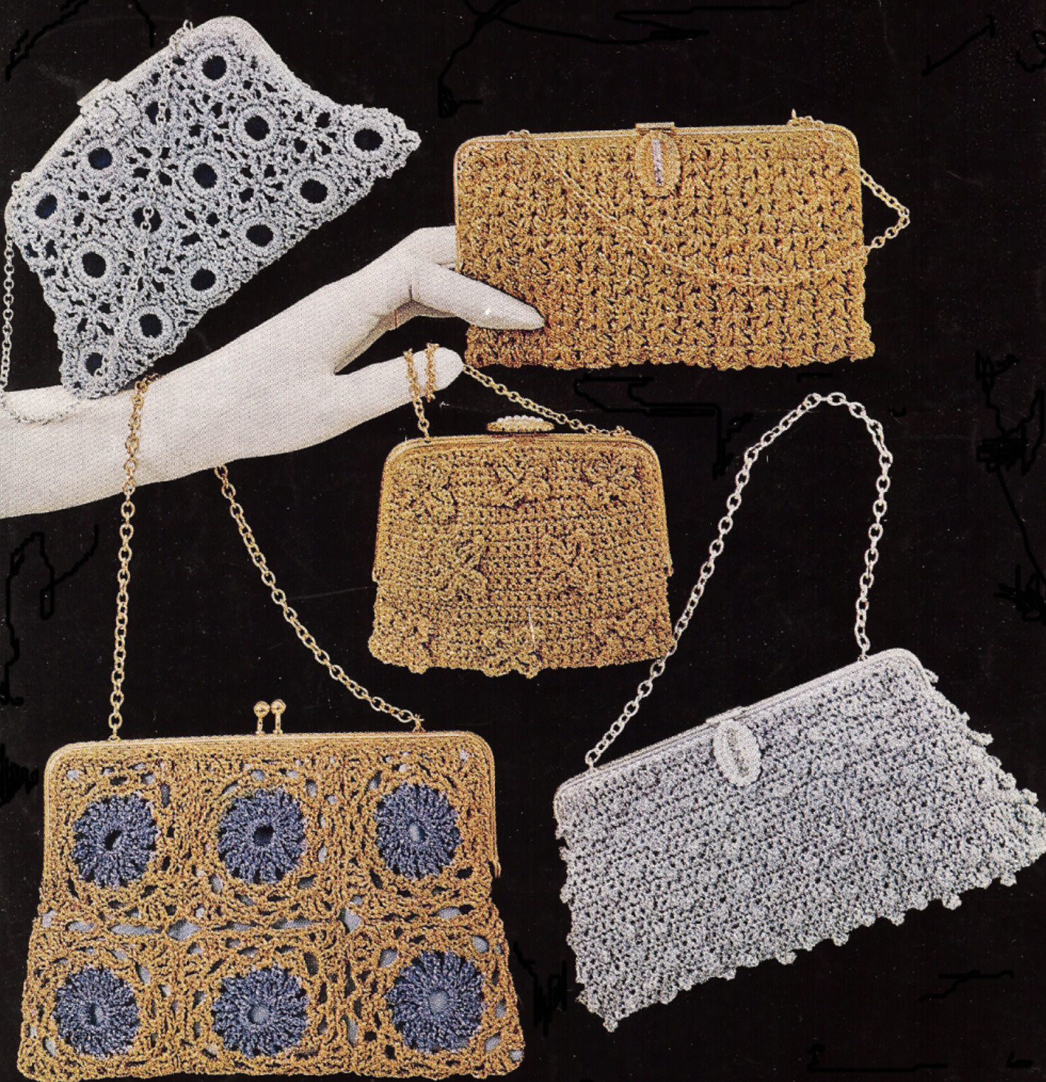 Vintage Crochet PATTERN to make 5 Holiday Party Evening Bags Purses ...