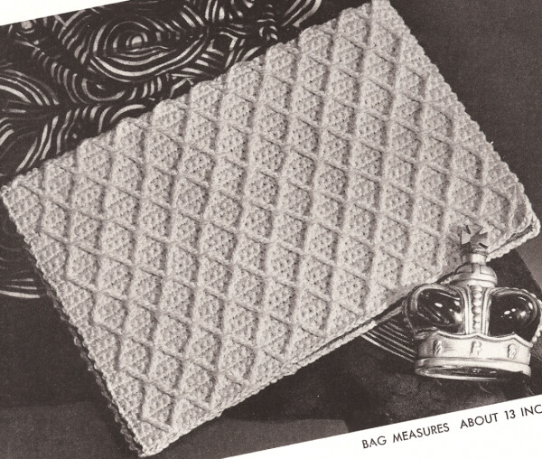 Vintage Crochet Clutch Pattern : Vintage Crochet Folder Clutch Bag Book Cover PATTERN