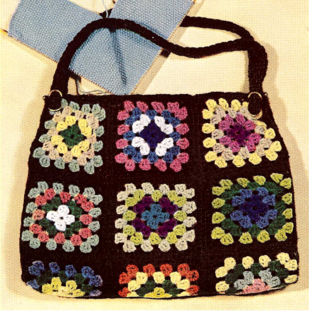 Crochet Granny Square Purse Pattern : Vintage Crochet PATTERN to make Granny Square Purse Tote Work Bag ...