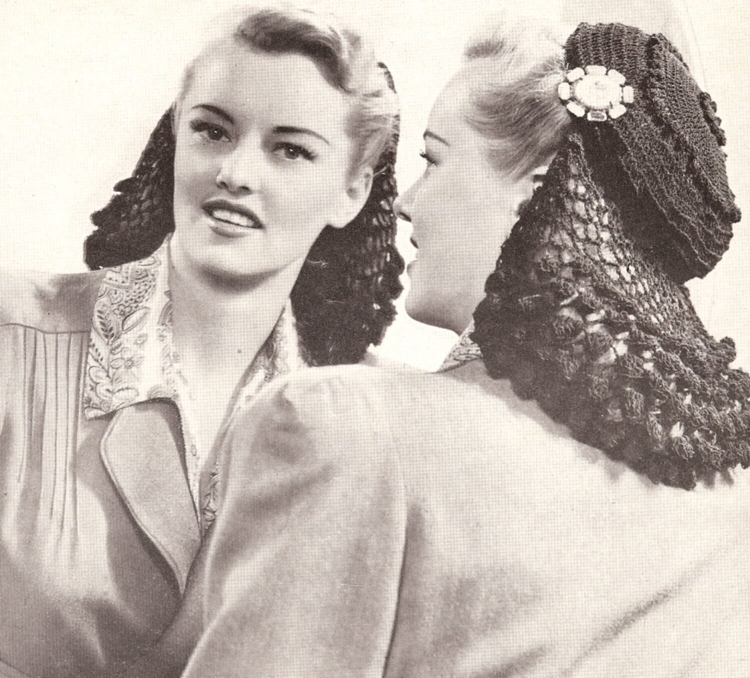 Crochet Hair Net Snood Pattern : Vintage Crochet Snood Hat Cap 1940s hair net pattern